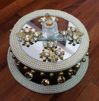 White And Gold Engagement Platter