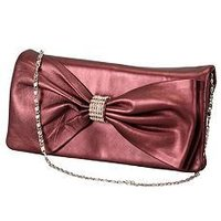 Bow Designed Evening Purse With Chain Handle