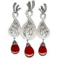 Diamond and Ruby Pendant Set