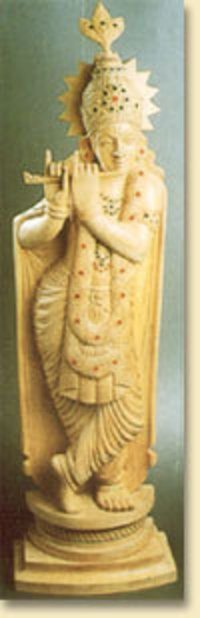 White Wood Krishna Statue