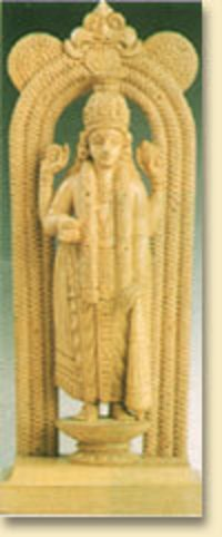 White Wood Lord Guruvayoorappan Statue