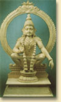 White Wood Lord Ayyappa Statue
