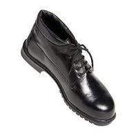 Black High Neck Safety Shoes With Laces