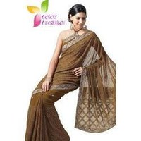 Brown Light Embroidered Saree