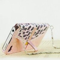 Bag Purse Wallet Leopard Hard Case With Chain For Iphone 4