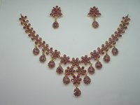 Precious Stone Silver Necklace Set