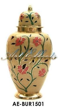 Embossed Flower Brass Funeral Cremation Urn