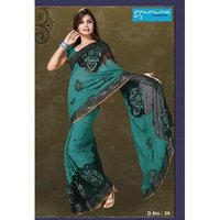 Black And Blue Fancy Saree Fabric