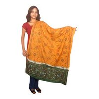 Black Orange Kantha Stole Cum Dupatta