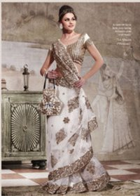 White Brown Net Saree