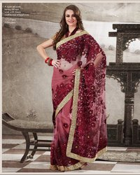 Pink Maroon Net Saree