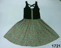 Viscose Printed Ladies Dress With Knitted Top