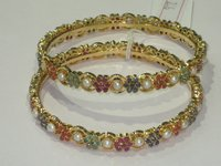 Gold Plated Real Stone Bangle