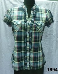 Cotton yarn-dyed check Ladies Blouse