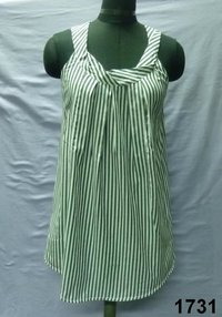 Cotton Yarn-Dyed Stripe Sleveless Ladies Blouse