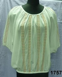 Viscose and Cotton Blended Ladies Blouse with embroidery work
