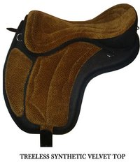 Treeless Synthetic Velvet Top Saddle