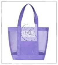 Organic Cotton Beach Bag With Cotton Mesh
