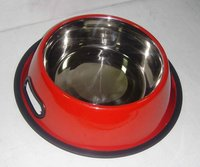 Antiskid Regular Dog Bowl Colored With Handle Grips