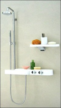 Shower With A Set Of Shelves