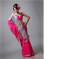 Pink And Grey Georgette Saree With Blouse