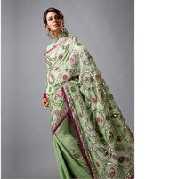 Pista Green Pure Georgette Saree With Blouse