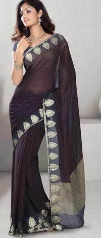Deep Wine Faux Chiffon Saree With Blouse