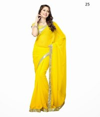 Fancy Yellow Chiffon Saree