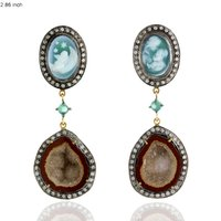 18k Gold Designer Geode Gemstone Wedding Diamond Earrings