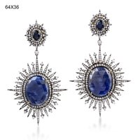 14k Gold Pave Diamond Sapphire Gemstone Wedding Dangle Earrings