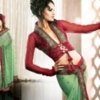 Green With Red Saree