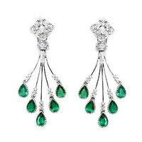 Chandelieir Emerald Diamonds Earrings