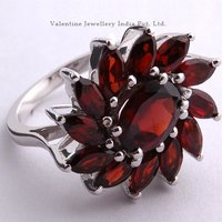 Costume Silver Ring In Semiprecious Stones