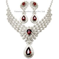 Designer Bridal Necklace Studded Genuine Diamonds And Ruby