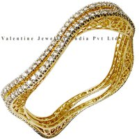 Designer Diamond 18k Yellow Gold Bangles