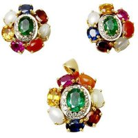 Navratna Raashiratan Gold Pendant And Earring