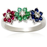 Ruby Emerald Diamond And Sapphire Jewelry Ring