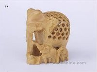 Sandal Wood Lattice Elephant With Baby
