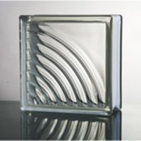 Clear Parallel Wave Glass Block