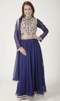 Georgette Color Navy blue Anarkali Suit