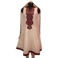 Embroidered Cream Chanderi Suit
