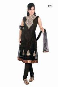 Ladies Black Printed Churidar Suits