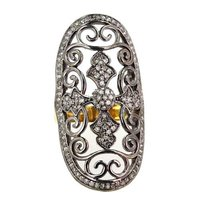 Diamond Pave Designer Silver Gold Ring