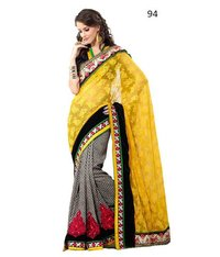Printed Designer Cream And Teal Sarees
