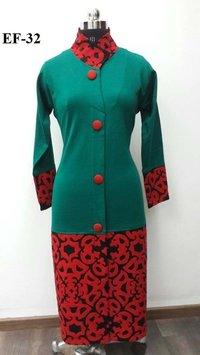 Embroidered Woolen Kurtis Coat Style