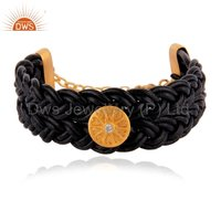 18k Gold Over Sterling Silver Black Macrame Bracelets