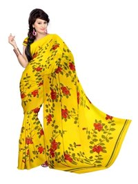 Red Hibiscus Flowers Painted Saree