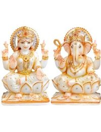Goddess Laxmi And God Ganesha White Marble Statue
