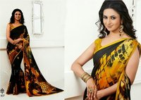 indian black & yellow saree