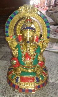 Handcrafted Brass Ganesha Statue With Stone Work